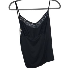 NWT In Bloom lace trimmed black cami tank top